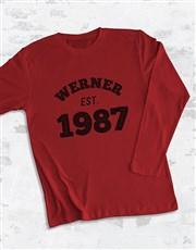 ersonalised Est Year Long Sleeve T Shirt