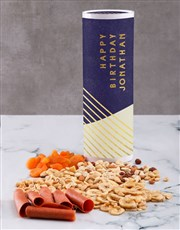Personalised Birthday Gourmet Fruit And Nuts Tube
