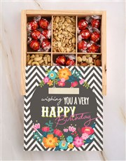 Personalised Birthday Floral Snack Crate