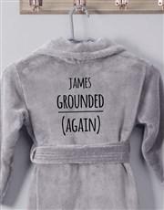 Personalised Own Words Grey Fleece Kids Gown