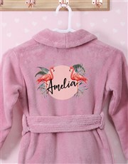 Personalised Flamingo Pink Fleece Kids Gown