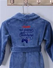Personalised Recharging Blue Fleece Kids Gown