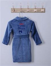 Personalised Not Sleeping Blue Fleece Kids Gown