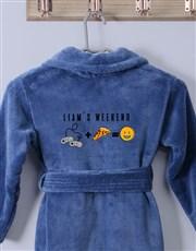 Personalised The Weekend Blue Fleece Kids Gown
