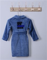 Personalised Friendly Warning Blue Fleece Gown