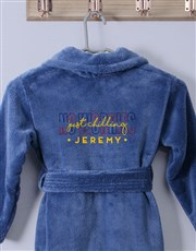 Personalised Just Chilling Blue Fleece Kids Gown