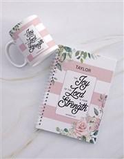 Personalised Joyous Strength Mug And Notebook