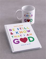 Personalised Be Still Mug And Notebook