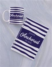 Personalised Anchored Mug And Notebook