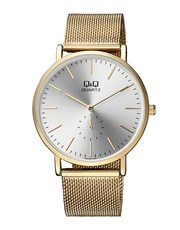 QQ Gents Stainless Steel Gold Plated Quartz Watch.