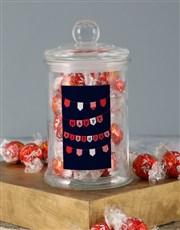 Red Birthday Banner Lindt Candy Jar