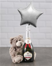 Brown Teddy And Silver Star Balloon Hamper