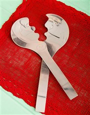 The whimsical female and male Kiss Salad Server by