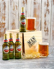 Celebrate with 4 Amstel Lager and two beer mugs in