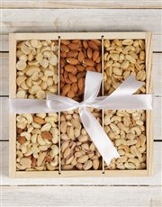 A hamper filled with Macadamias, Mixed Nuts, Peanu