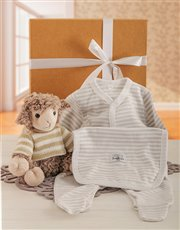 The cutest lamb plush toy and grey striped baby gr