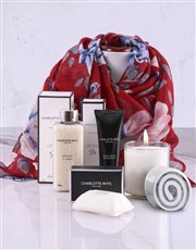 Charlotte Rhys Pamper Box And Red Floral Scarf