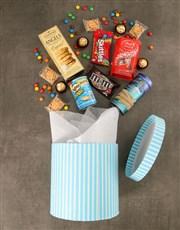 Blue Hat Box of Gourmet Goodies