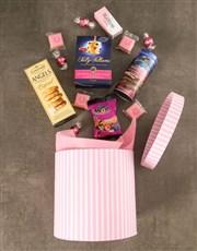 Pink Hat Box of Gourmet Goodies