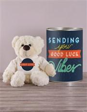 Good Luck Teddy in a Tin