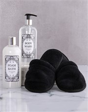 Black Damask Slipper Set