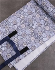 Blue Marrakesh Tote Bag With Mat