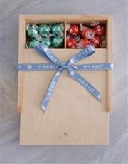 Baby Boy Ribbon Lindt Treasure Box
