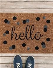 Hello Polka Dot Door Mat