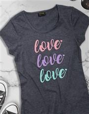 Triple Love Ladies T Shirt