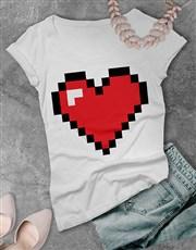 Retro Gaming Heart Ladies T Shirt
