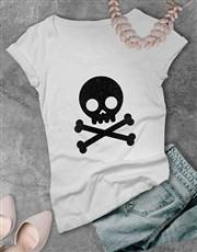 Black Glitter Skull Ladies T Shirt