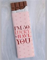 So Lucky Heart Design 300g Chocolate Slab