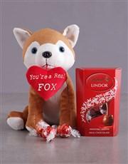 Fox Plush And Chocolate Hamper