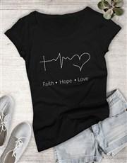 Ladies Faith Hope Love Christian Shirt