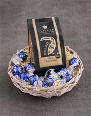 Coffee and Lindt Blue Basket