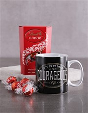 Strong And Courageous Mug With Lindt Chocs