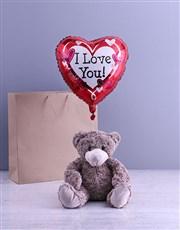 Anniversary Teddy And Balloon Gift