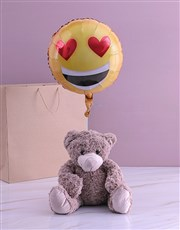 Love Emoji Teddy And Balloon Gift