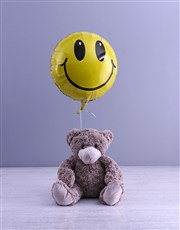 Smiley Face Teddy And Balloon Gift