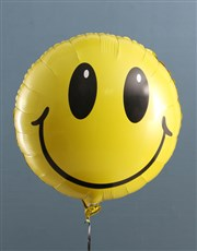 Smiley Face Balloon With Teddy Bear In Hat Box