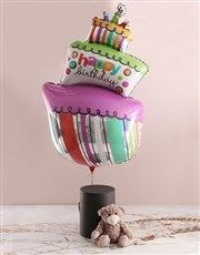 Birthday Balloon With Teddy Bear In Hat Box
