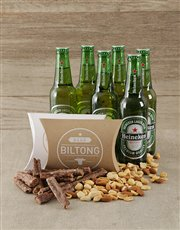 A gift box containing a 6 pack of Heineken, droewo