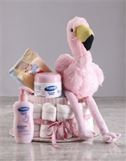 Pink Flamingo Nappy Cake