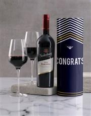 Congratulations Striped Wine Tube