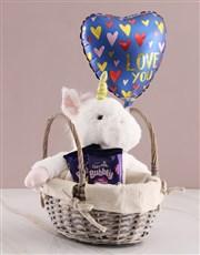 Unicorn Chocolate Basket With Balloon