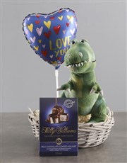 Dinosaur Teddy With Chocolate Basket