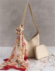 Savvy Tan Handbag With Pouch