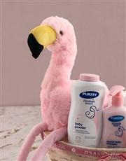 Teddy Flamingo Plush Nappy Basket
