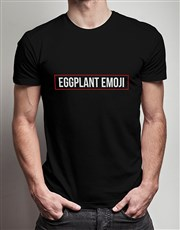 Eggplant Emoji Black Tshirt