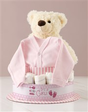 Its A Girl Teddy And Clothing Nappy Cake